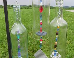 Recycled Wine Bottle Wind Chime, Clear Wine Bottle, Unique Wind Chime,  Garden Decoration