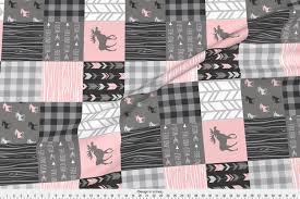 Sugar Pine Design Fabric Spoonflower Fabric Pink Moose Rotated Wholecloth Patchwork Quilt Pink And Grey Baby Girl Woodland By Sugarpinedesign Printed On Fleece Fabric By The