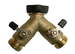 garden hose splitter. High Flow Brass Hose Y With Valves Garden Splitter E