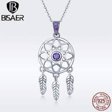 whole bisaer 925 sterling silver dream catcher pendant necklaces for women vintage feather necklaces authentic silver jewelry ecn279 ruby pendant