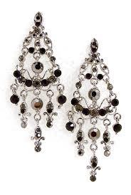 chandelier earrings smokey black rhinestone