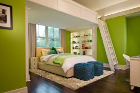 adult bedroom design. Glamorous Adult Loft Beds With Lime Wall Paint And White Fur Rug Also Blue Ottoman Bedroom Design