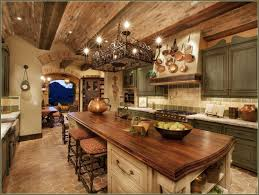 Marble Countertop And Butcher Block Top For Island Range Hood With Scheme  Of Tuscan Kitchen Ideas