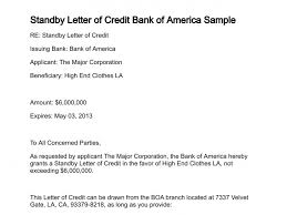 standby letter of credit bank of america sample 284 0