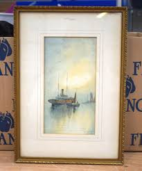 royal crown derby interest william edward james dean watercolour painted with sailing vessels