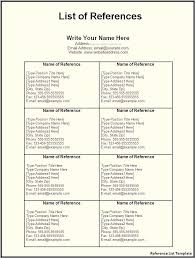 Template Reference List List Of References Template Character Reference List Template