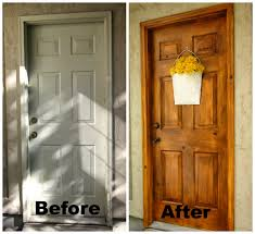 i just finished painting my metal door to make it look like wood this is a great way to add character warmth where it didn t exist before