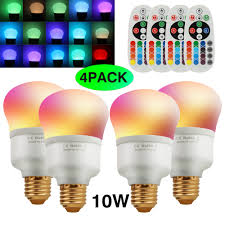Remote Control Light Bulbs Uk Details About Rgbw Led Light Bulb E27 10w 16 Colors Changing Light Bulb With Remote Control Uk