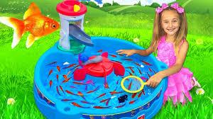 Sasha Catches Real <b>Fish</b> with <b>fishing</b> Water Toys