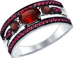 Серебряное кольцо <b>SOKOLOV</b> 92011259_s с гранатами ...
