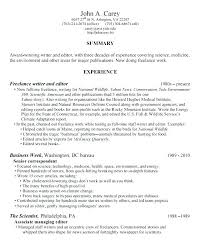 Writers Resume Sample Sample Writer Resume Freelance Work On Resume