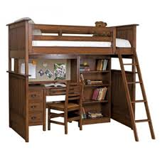 bedroom bedroom furniture dark brown stained wooden loft bunk bed with brown wooden armless chair and brown wooden desk moxed drawers and bookcase bunk