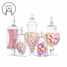 Decorative Glass Candy Jars New Transparent Glass Candy jar Hotel Wedding Dessert Storage 46