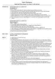 Resume For Dental Assistant Job Registered Dental Assistant Resume Samples Velvet Jobs 31
