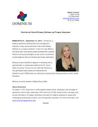 Dominium Hires Brittany Dallman as Project Assistant