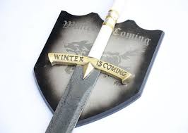 Game Of Thrones Stark House Crest Wooden Plaque S100 WHITE GAME OF THRONES DAMASCUS ICE SWORD EDDARD STARK W 72