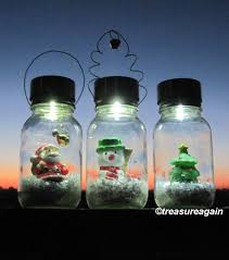Solar Jars Solar Mason Jar Snow Globe Light Santa Christmas Lights Holiday