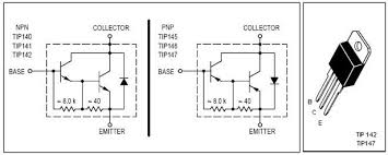 watt amplifier circuit tip 142 147 internal diagram and pin out