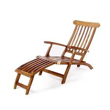 All Things Cedar Brown Teak Folding Patio Chaise Lounge Chair