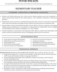 Elementary Teacher Resume Sample