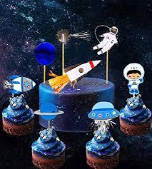 Amazoncom 28 Pcs Jevenis Space Astronaut Cupcake Toppers Rocket