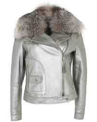 maxmara metal silver lambs leather biker jacket xs