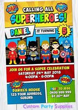 superheroes birthday party invitations superhero invitations ebay