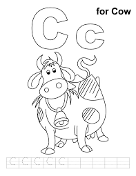 C for cow coloring page with handwriting practice | Download Free ...