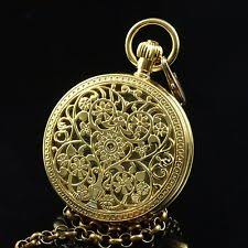 yellow gold tone copper filigree moon phase tourbillion wind up yellow gold tone half hunter tourbillion moon phase wind up pocket watch chain