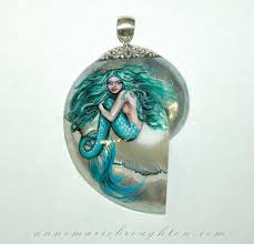 green beauty hand painted mermaid art nautilus pendant by anne marie broughton