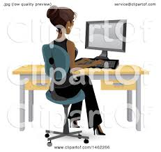woman office furniture. Clipart Of An African American Business Woman Working On A Computer At Her Office Desk - Royalty Free Vector Illustration By Amanda Kate Furniture