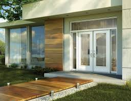 white residential door with extra large full glass transom and double full glass