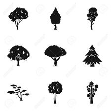 木本植物のアイコンを設定します9 木質植物の簡単な図のベクトルの Web アイコン