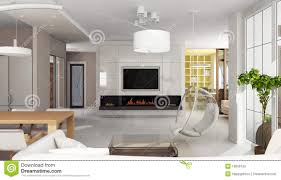 Luxury Apartment Interior With Fireplace Royalty Free Stock Images - Luxury apartments interior