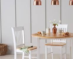 mark harris genovia oak and white round drop leaf extending dining table 60cm 100cm