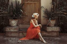 temple painting women model barefoot hat sitting dress red dress spring color flower beauty image