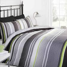 cambridge duvet set black green stripe single double or king size