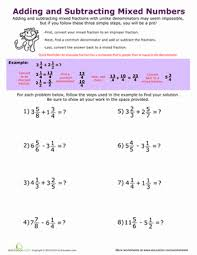 Adding and Subtracting Mixed Numbers | Worksheet | Education.comFifth Grade Middle School Fractions Worksheets: Adding and Subtracting Mixed Numbers