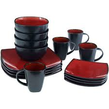 red black square dinnerware sets. red dishes dinnerware sets black square m