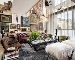 eclectic living room with leather sofa