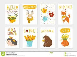 Set Of 6 Cute Autumn Postcards Stock Vector Illustration Of