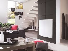 modern perfect furniture. Furniture : Interior Design With Black Modern Sofa And Pink Cushion Near Brown Table Alsp White Wall Heater Plus Floating Staircase Make Your Perfect E