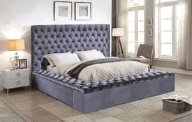 tufted platform bed. $150 Off 849.00 Gray Velvet Tufted Bed W/ Storage Platform