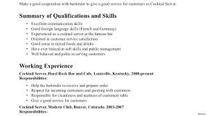 Resume Bartender Server Resume