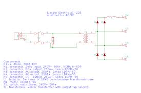 lincoln electric ac 225 ac225 ac dc stick tig welder conversion the following schematic illustrates my plan it s svg so it should zoom and scale in most web browsers