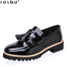 lala ikai women slip on loafers patent leather brogues fringe shoes woman oxford shoes flat platform plus size 10 b0080 5 mens slippers footwear from