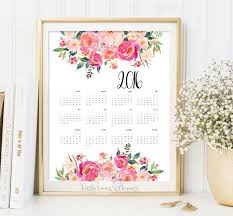 printable calendar 2016 yearly desk calendar poster classroom diy wall digital 2016 planner 12 month fl