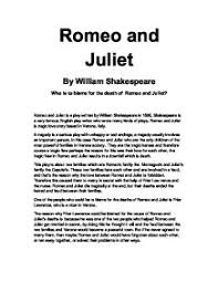 who is to blame for the death of romeo and juliet gcse english  who is to blame for the death of romeo and juliet gcse english marked by teachers com