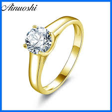 <b>AINUOSHI 10k Solid Yellow</b> Gold Wedding Ring Solitaire 1ct ...