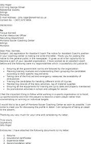 Athletic Coach Cover Letter Sample Coaching Cover Letter Bunch Ideas